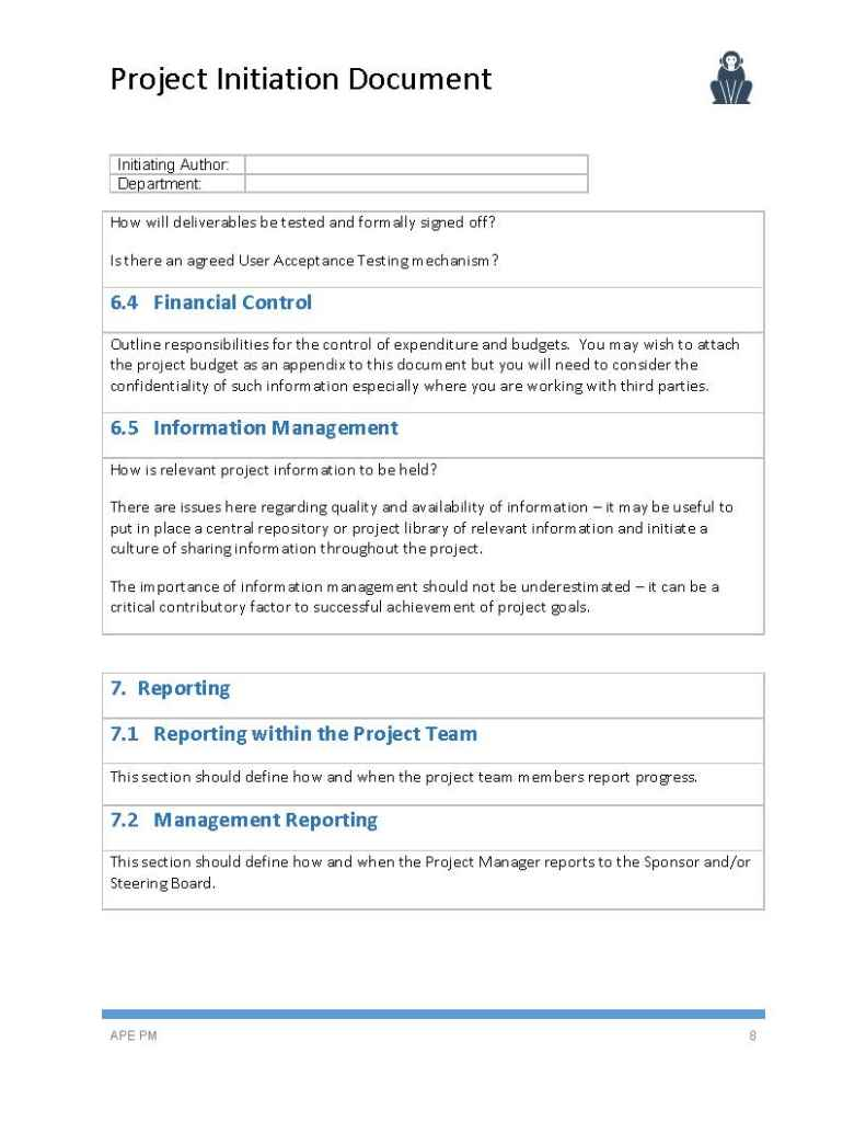 project initiation document template page 08 ape project management