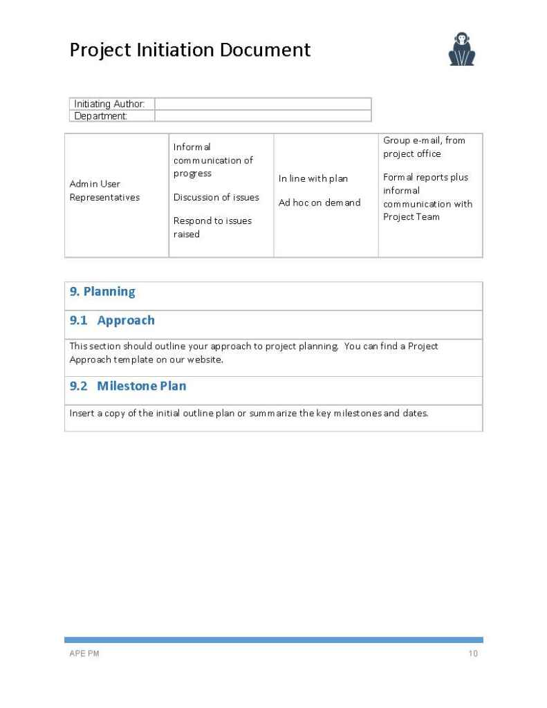 Project Initiation Document Template Ape Project Management