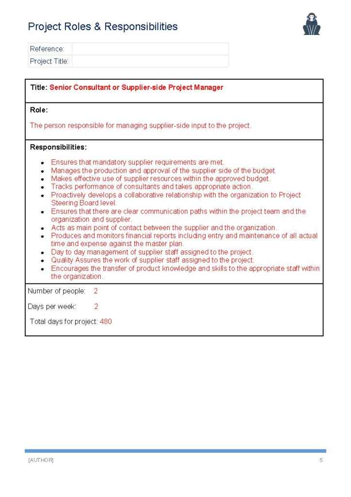 Project Roles And Responsibilities Template  Project Management Roles And Responsibilities Template