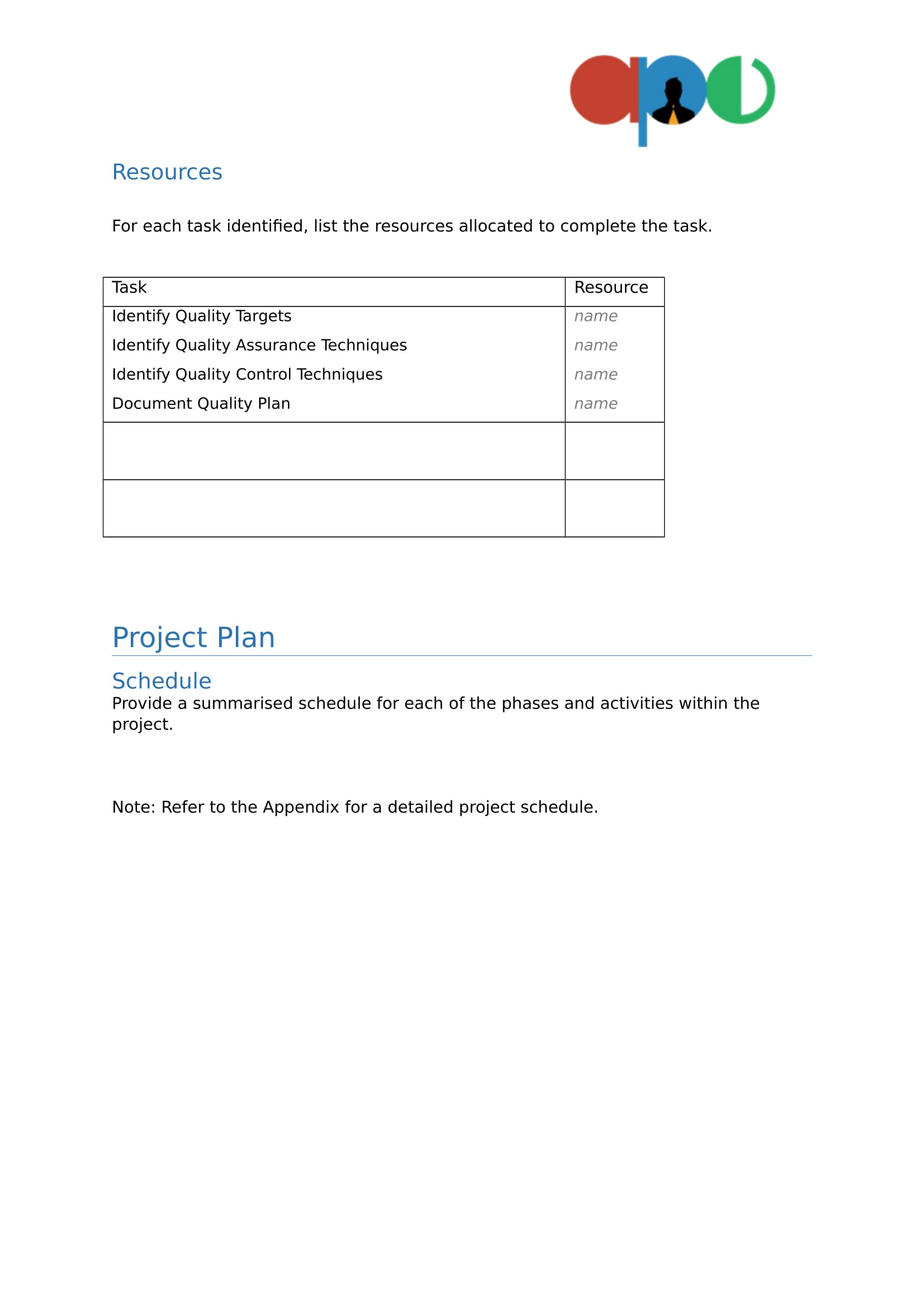 Project plan template ape project management project plan template pronofoot35fo Image collections