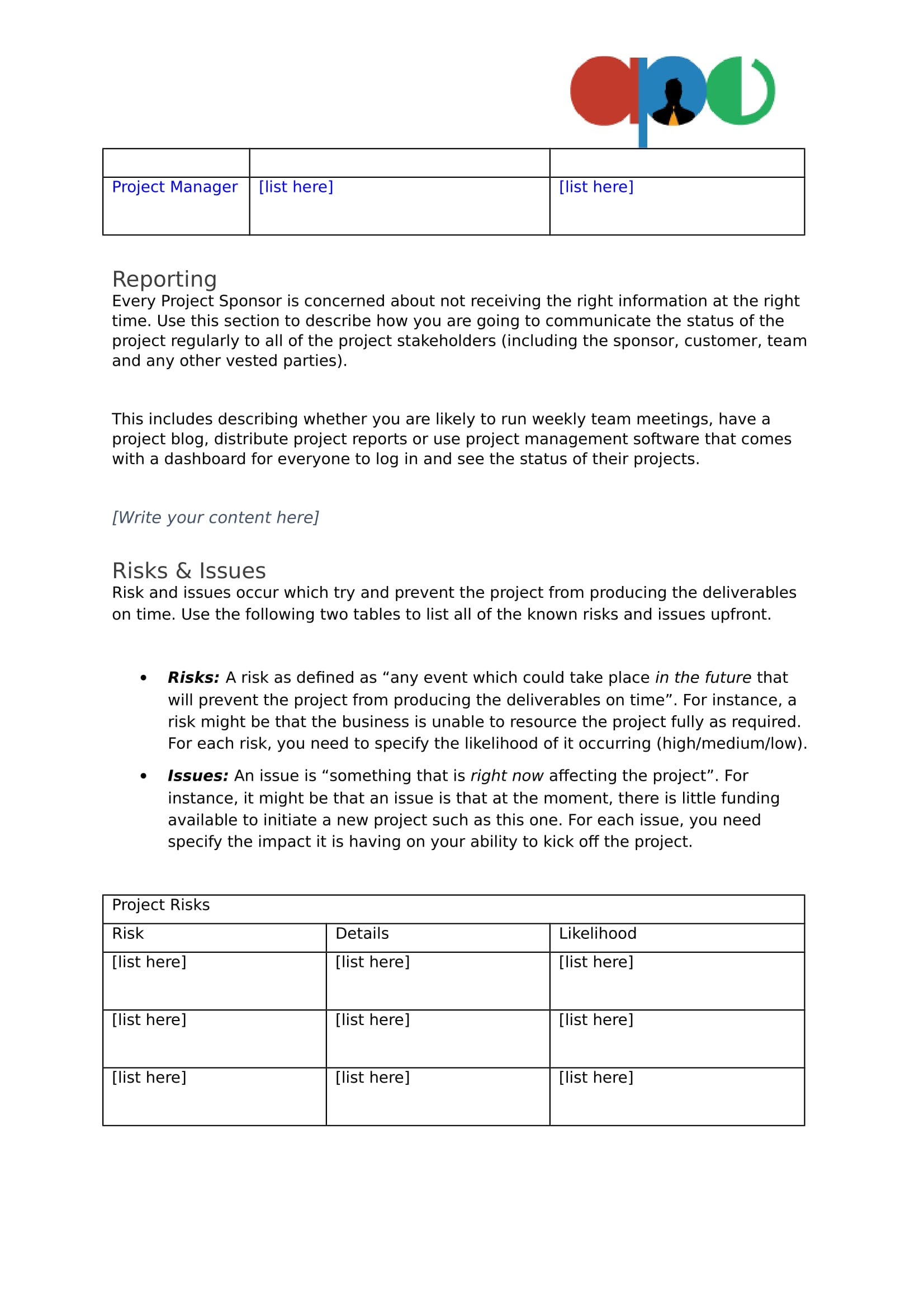 project management issues log template