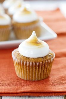 Sweet Potato Pie Cupcakes with Toasted Marshmallow Frosting