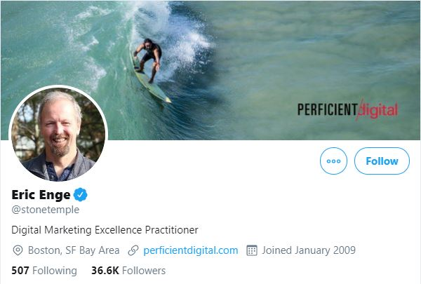 Eric Enge Twitter Profile