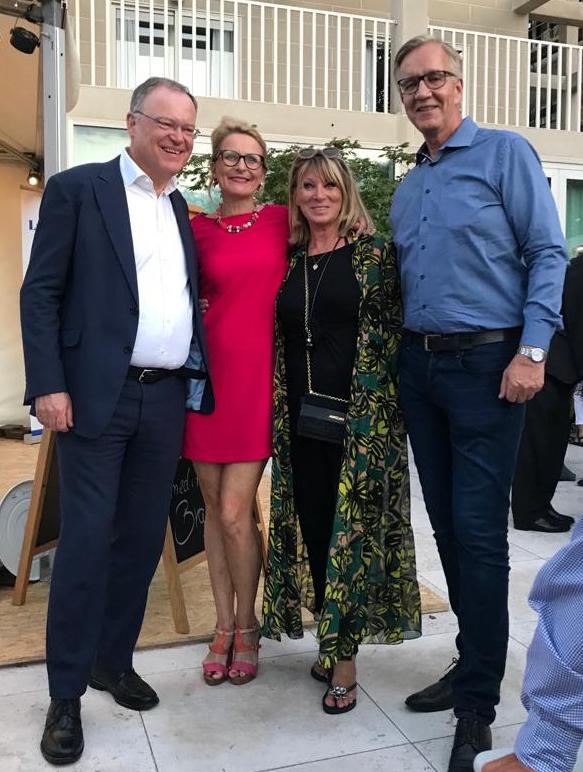 Politisches Sommerfest Niedersachsen: Ministerpräsident Weil, Gesa Noormann, Martina Conradt, Dietmar Bartsch (Parteichef Die Linke)