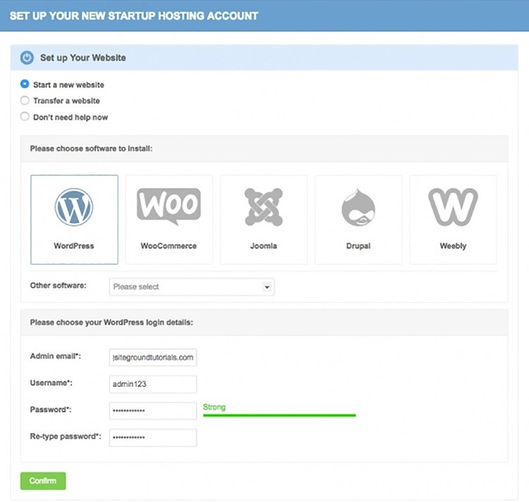 SiteGround WordPress quick install
