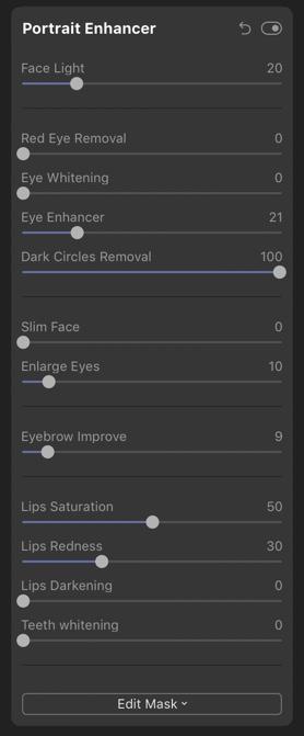 luminar 4 portrait enhancer screenshot