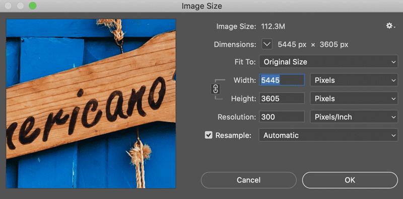 photoshop image resize screenshot