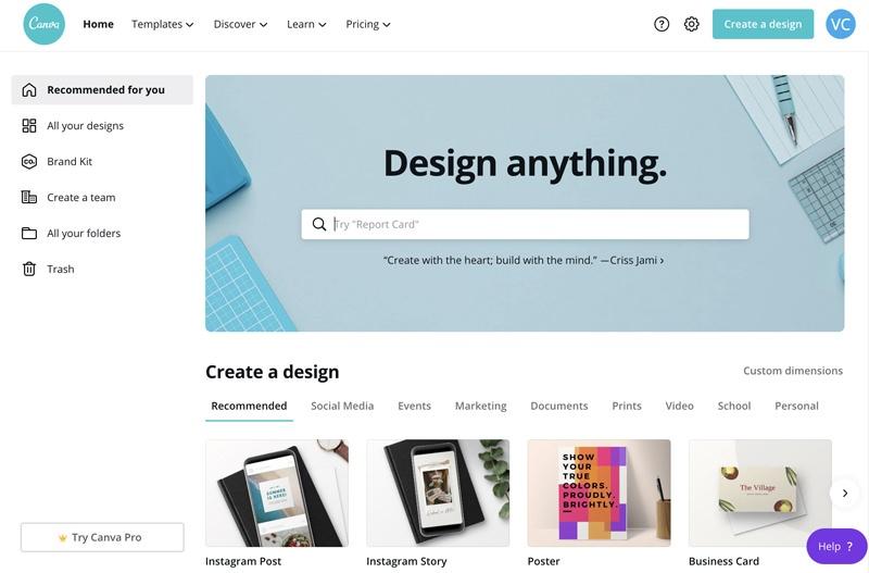 Canva homepage screenshot