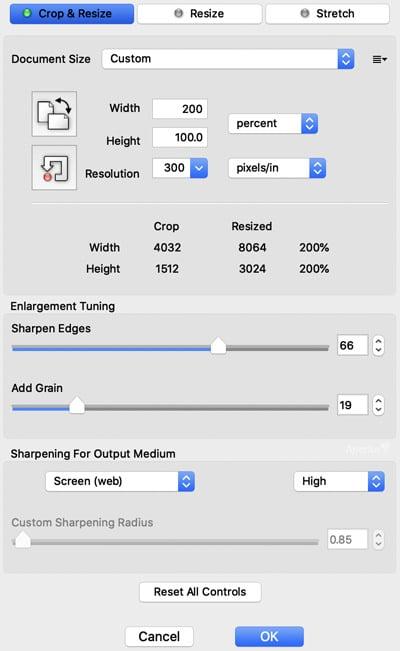Blow Up 3 image enlargement settings