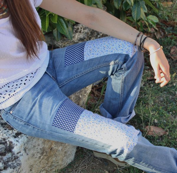 patched levis jeans