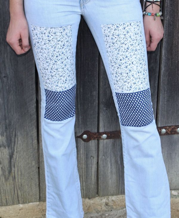 pale blue patched bootcut customised jeans