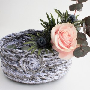 grey upcycled fabric twine basket bowl