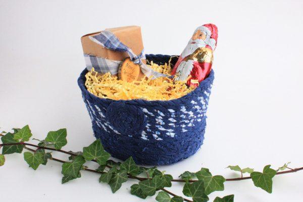 upcycled fabric basket blue christmas gift presentation