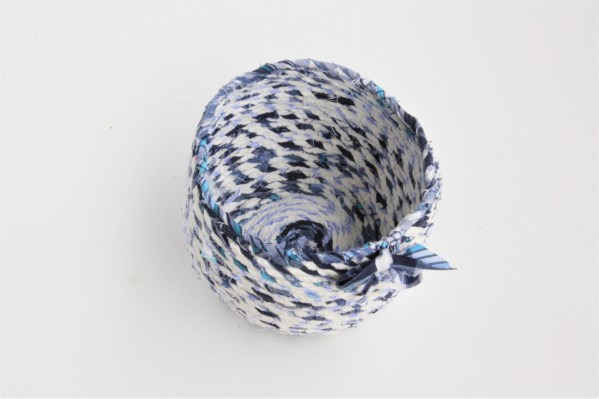 small blue white recycled fabric basket bowl
