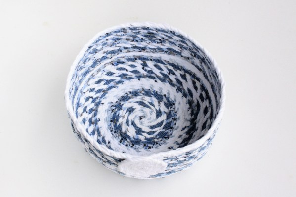 blue white recycled fabric basket