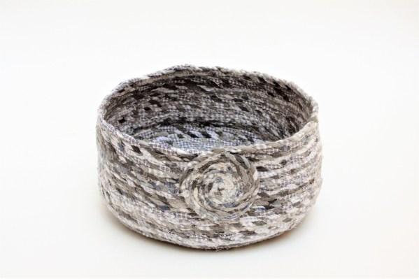 grey upcycled fabric twine basket