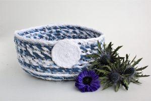 blue white upcycled fabric basket bowl