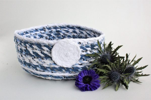 blue white upcycled fabric basket bowl