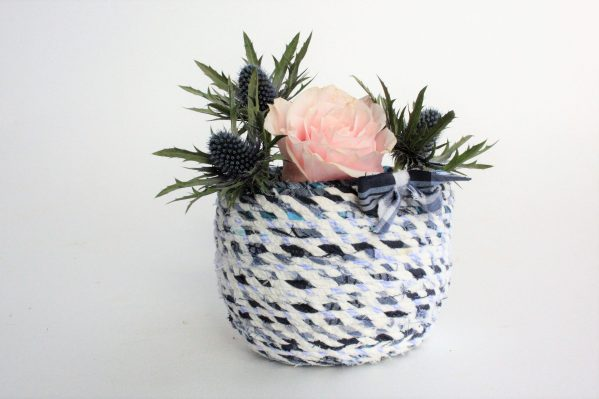 blue white small upcycled fabric twine basket bowl