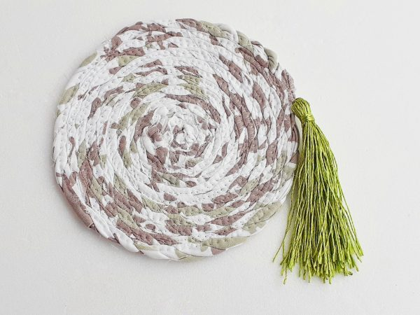 green tassel coaster drinks mat