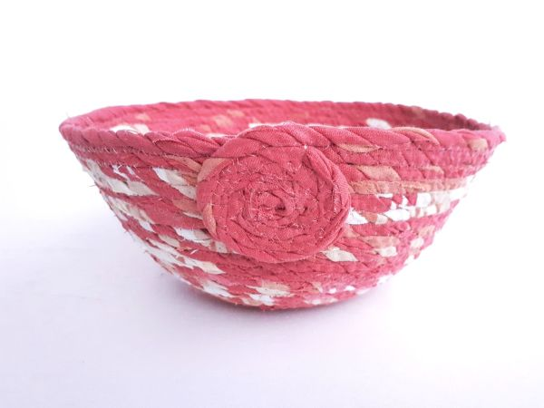 rust red recycled fabric basket