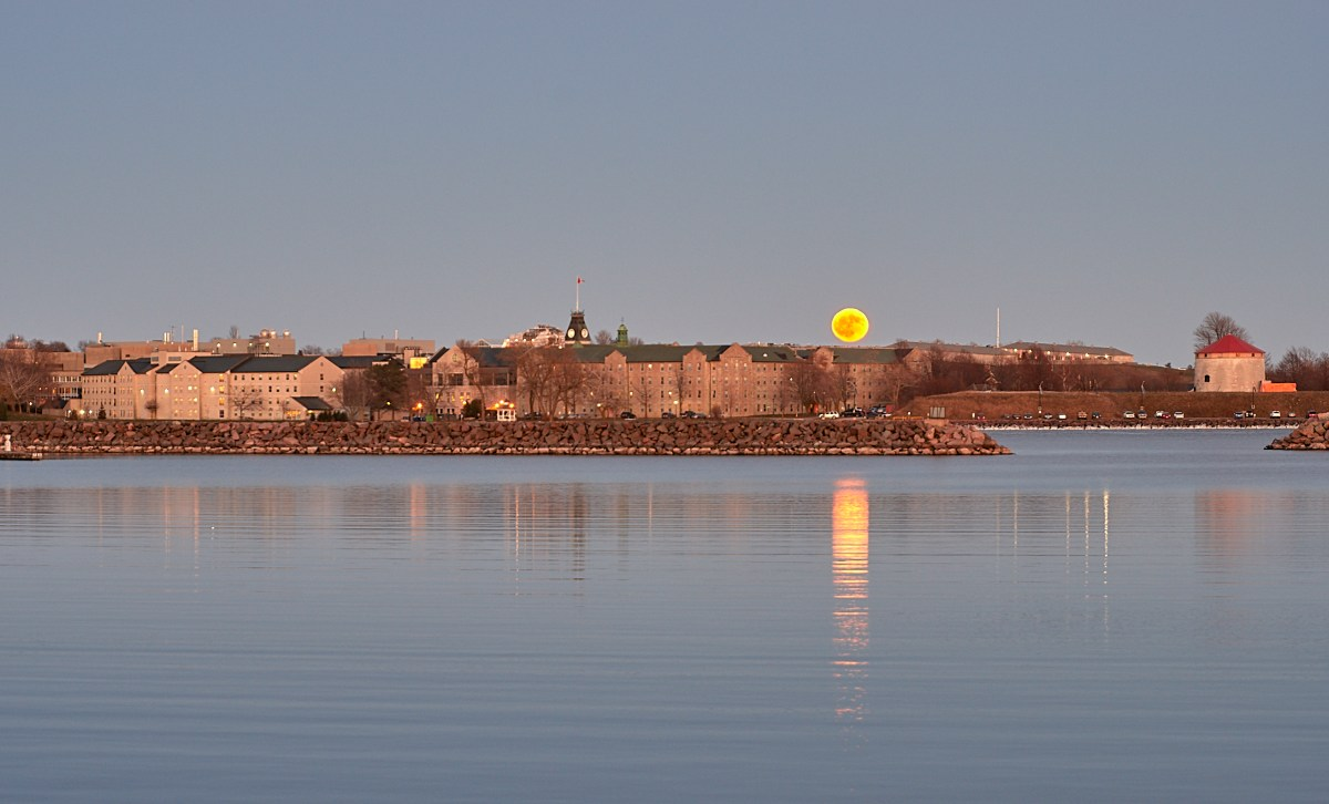 Full Moon rising behind the Royal Military College!