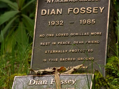Dian Fossey's grave maker at Karisoke, Virunga NP, Virunga Mountains, Rwanda