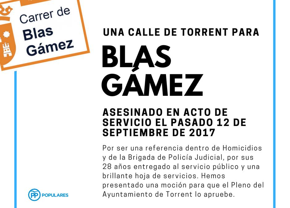 El PP pide a través de una moción, una calle de Torrent para el subinspector de Policía, Blas Gámez