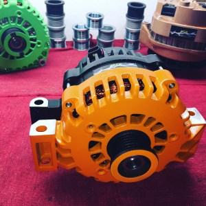 black and orange high output alternator