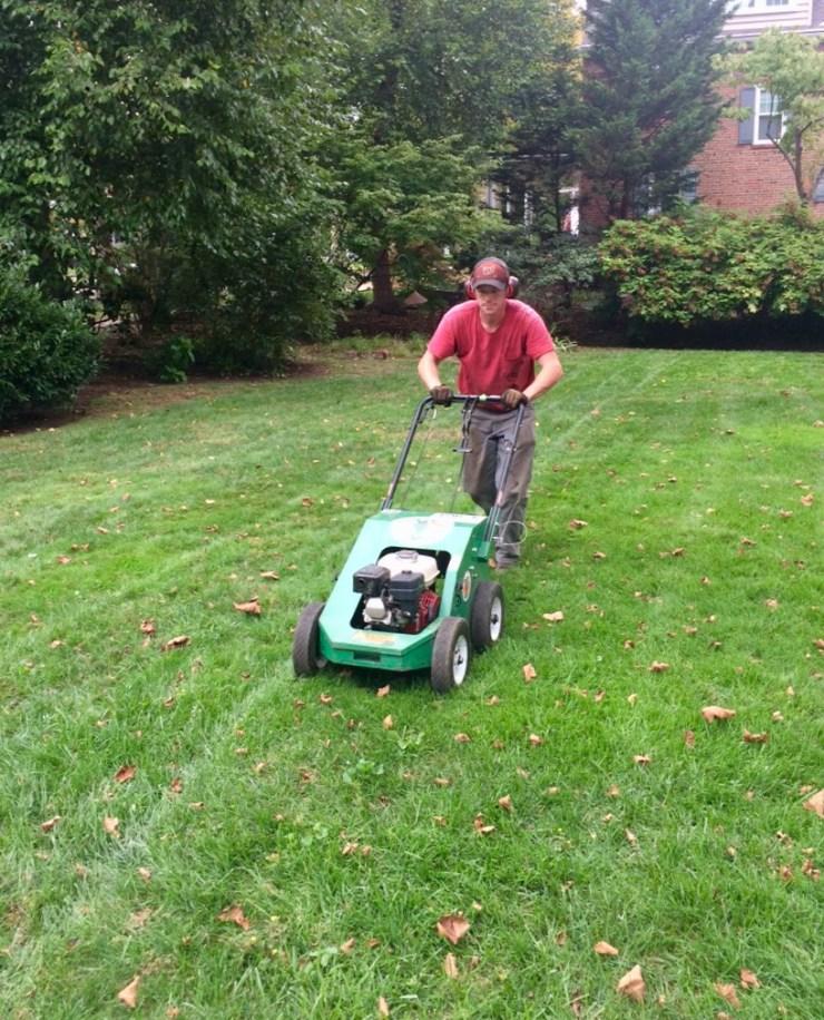 Aerating lawn during seeding visit