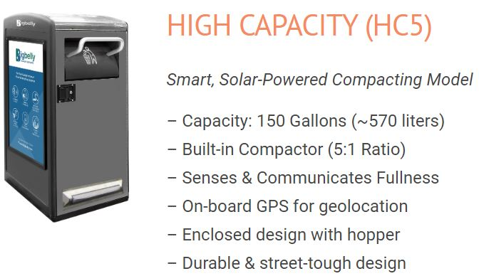 High Capacity Trash Bins with solar powered compactor
