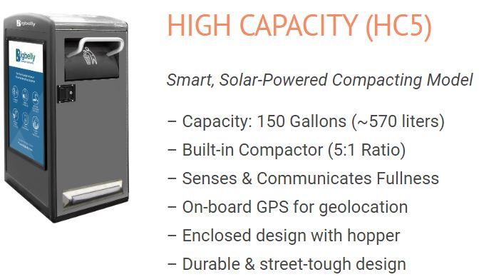 High Capacity Trash Bins with solar powered compactor
