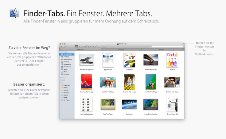 OS X Mavericks - Finder Tabs