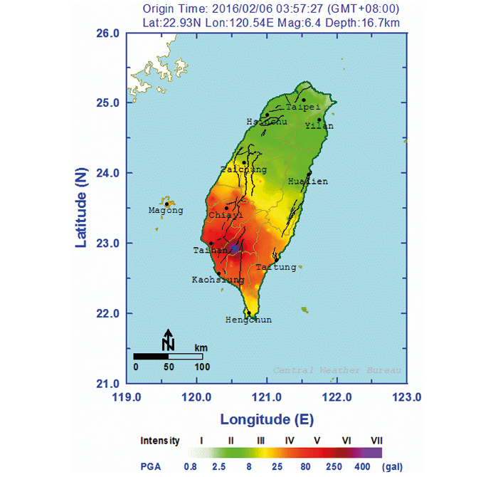 Ground motion intensity map of the Tainan earthquake (Central Weather Bureau).