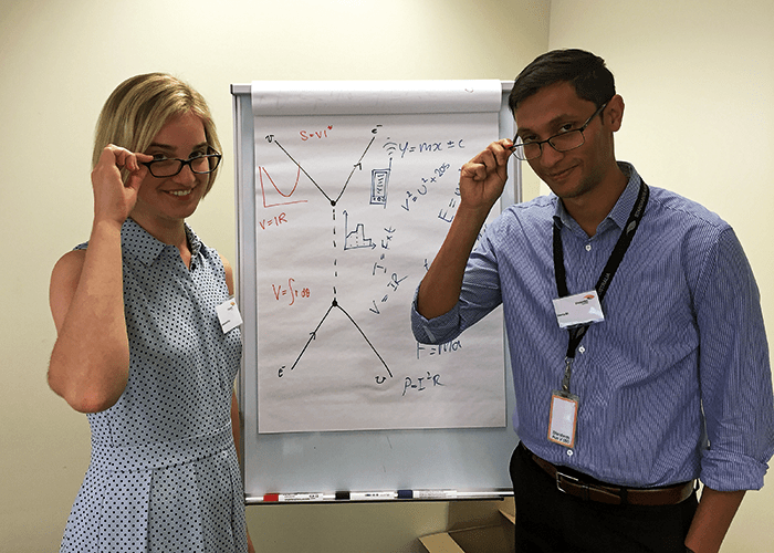 Standards help plan for innovation, as demonstrated by Alexandra Price and Osama Ali.