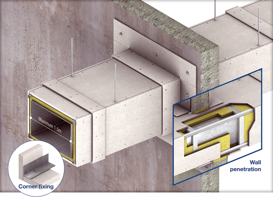 A typical installation example of cladding to steel ducts not more than 1.5m wide using PROMATECT®-H matrix engineered mineral boards and mineral wool for up to 120/120/120 FRL in accordance with the requirements of BS 476.24 and AS 1530.4 standards.