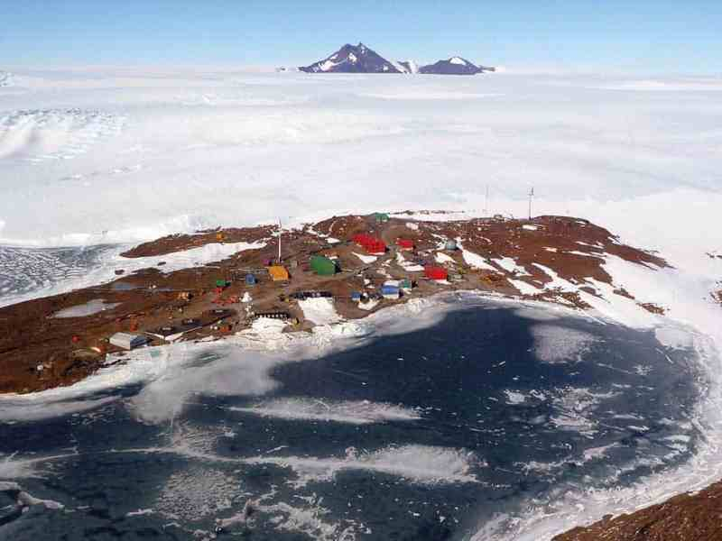 Aerial view of Mawson station.