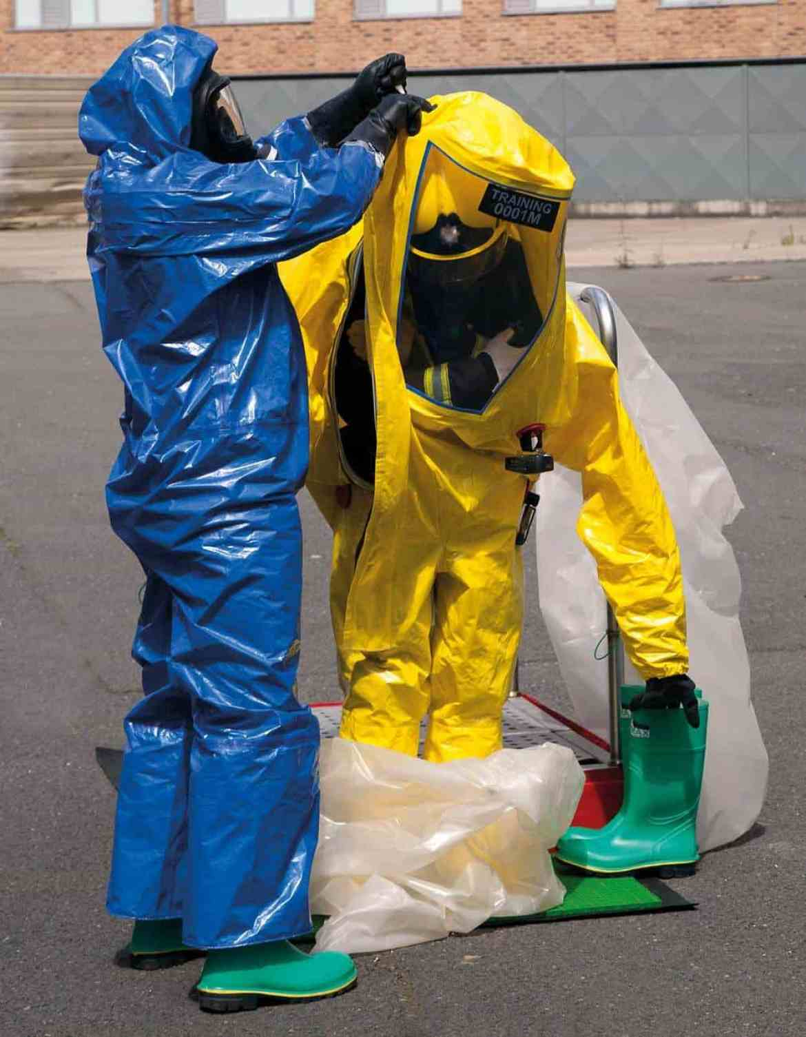 Simplified decon and doffing with single use suits.