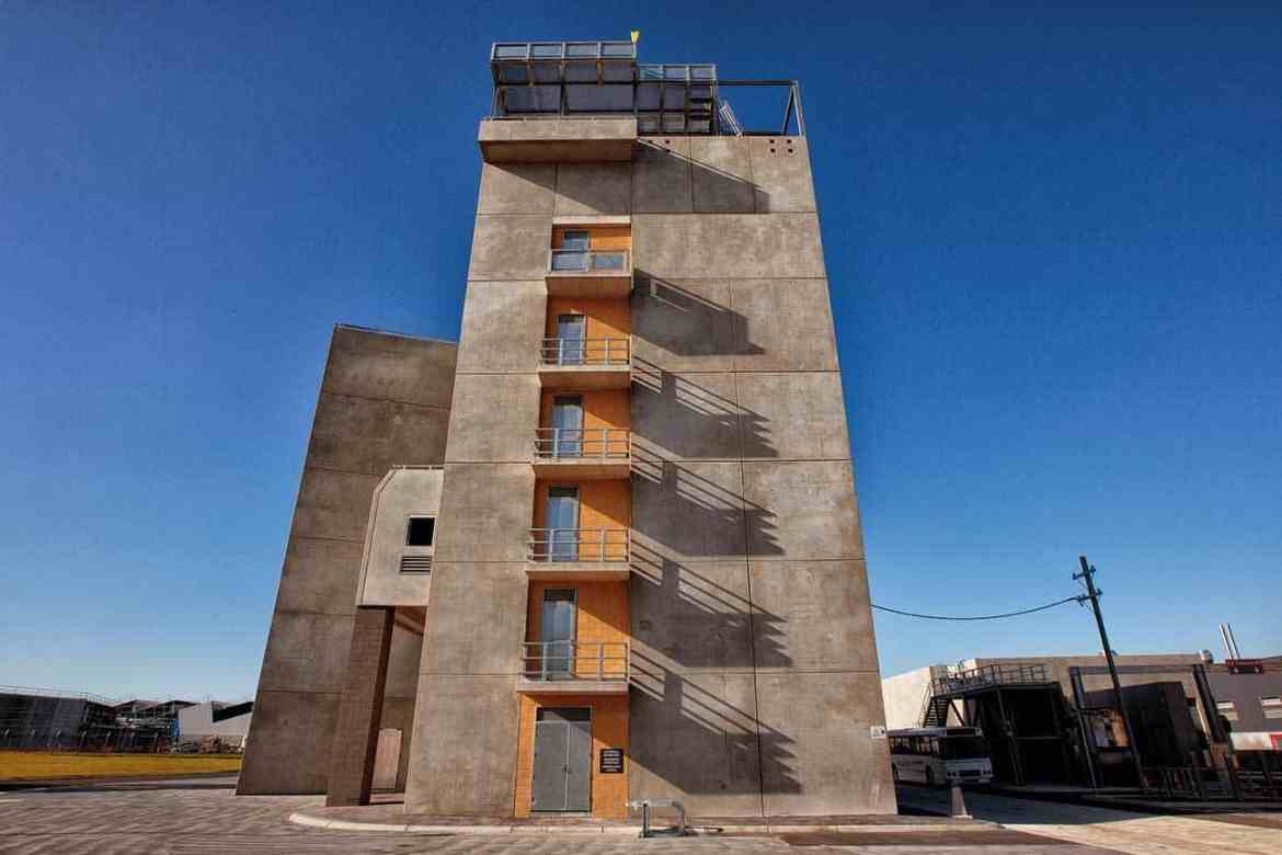 VEMTC Craigieburn's tower prop is a purpose built seven-storey high rise building, complete with elevator shaft.