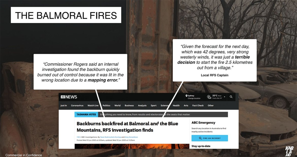 The Balmoral fires is an example of a mapping error causing an out-of-control blaze.