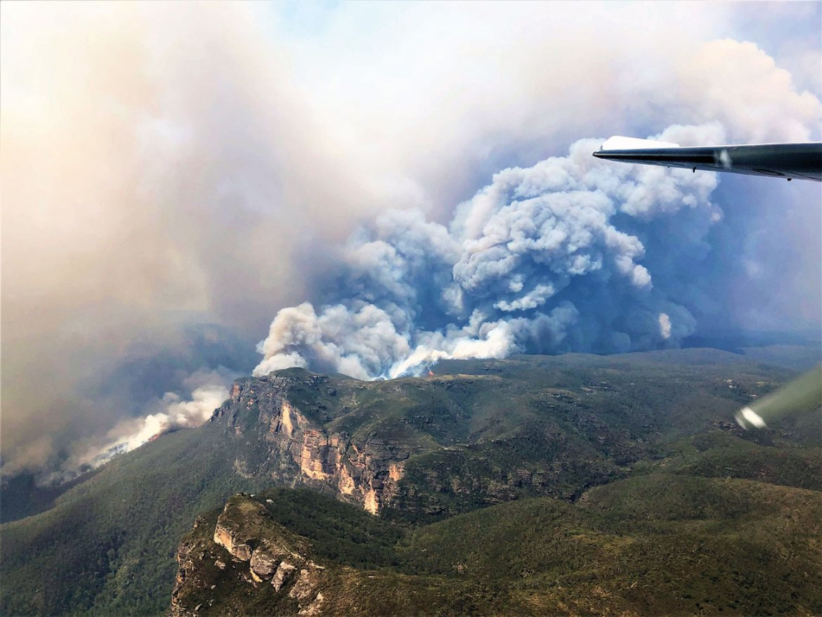 The Gospers Mountain fire from the air in the Wollemi National Park, NSW.