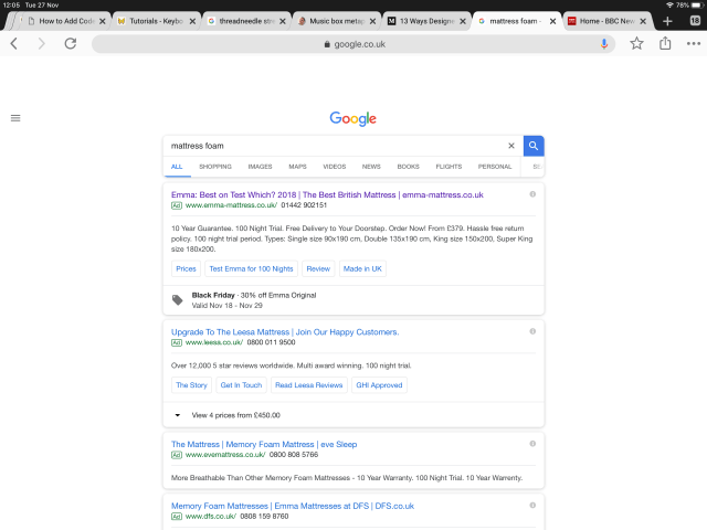 Search results page from google