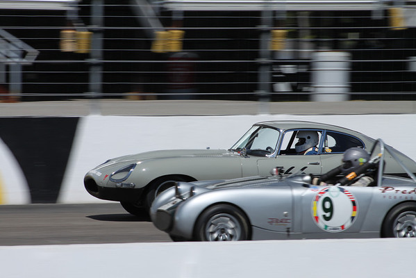 Silver cars on track