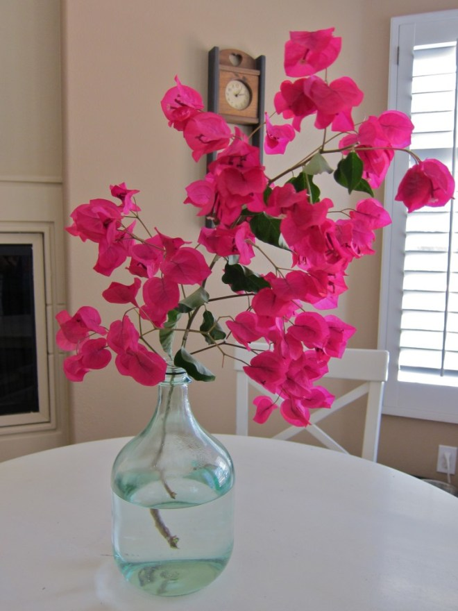 Flowers from yard makes a beautiful centerpiece.