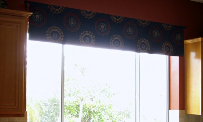 The kitchen window also got a matching valance to help unify the great-room layout.