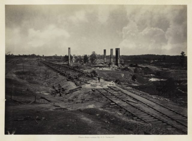 George N. Barnard, Destruction of Hood's Ordnance Train, from Photographic Views of Sherman's Campaign, 1864; albumen print; 10 1/16 x 14 1/16 in. (25.56 x 35.72 cm); Collection of the Sack Photographic Trust