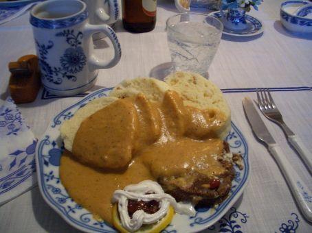 Meat, dumplings and Cranberry Sauce