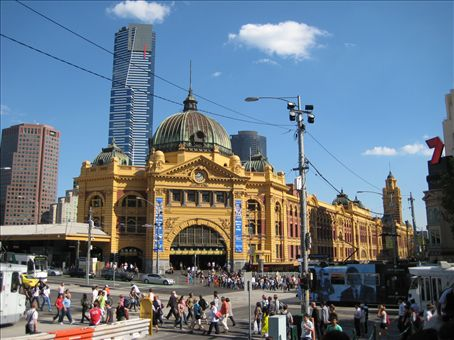 Flinders Street Station with the new Skytower behind it, Melbourne