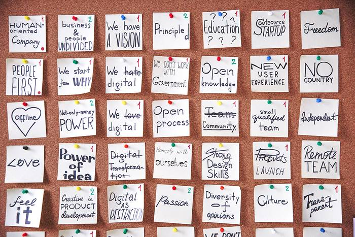 Notes thumbtacked in orderly fashion on corkboard