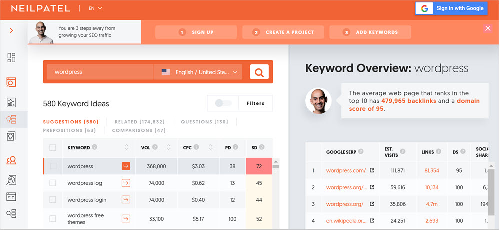 free keyword research tools - Ubersuggest for seo blog posts